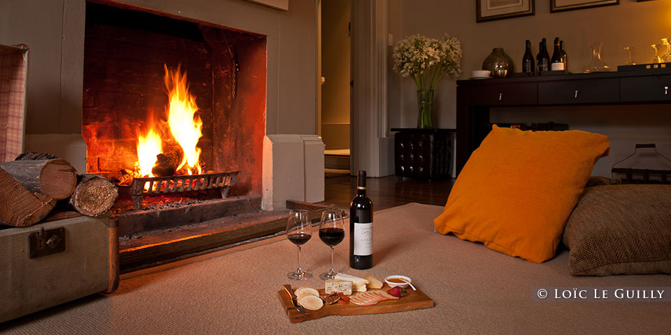 Woodbridge - wine and cheese platter by the fire