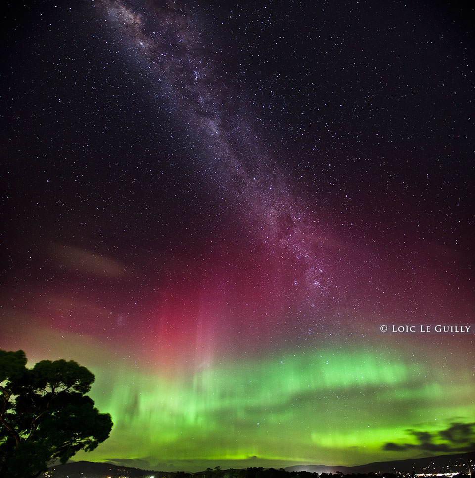 aurora australis and milky way from Hobart, Tasmania
