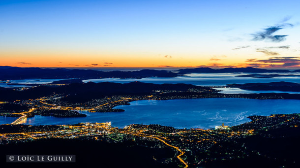 image of Hobart at dawn shot from Mount Wellington