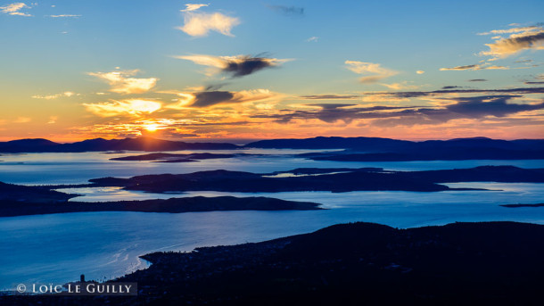 Hobart sunrise from Mt Wellington