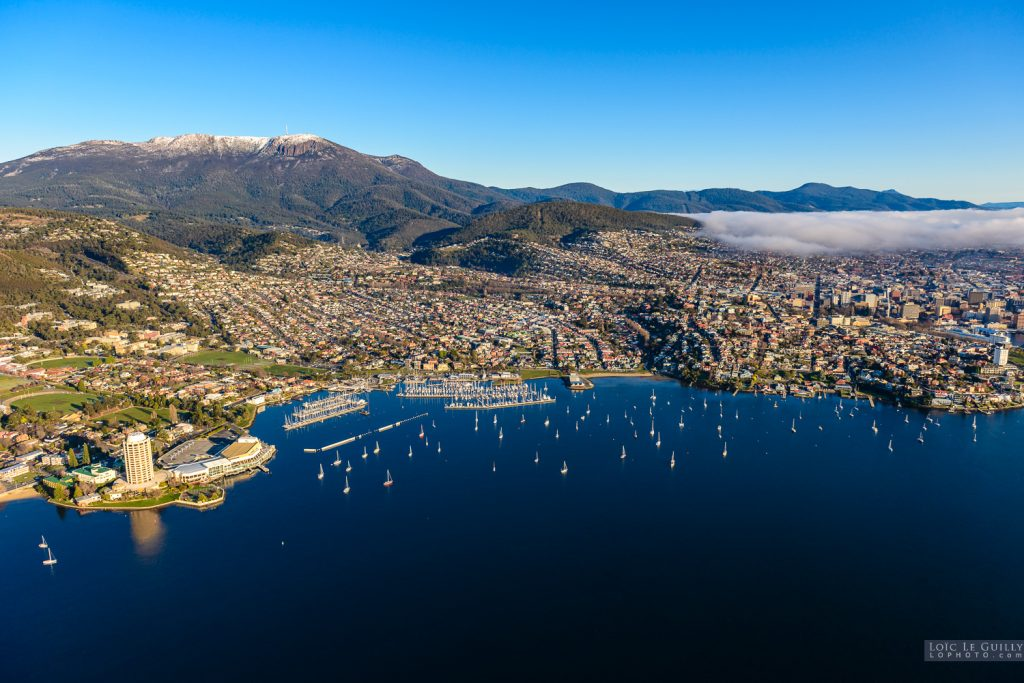 Aerial view of Hobart and Sandy Bay